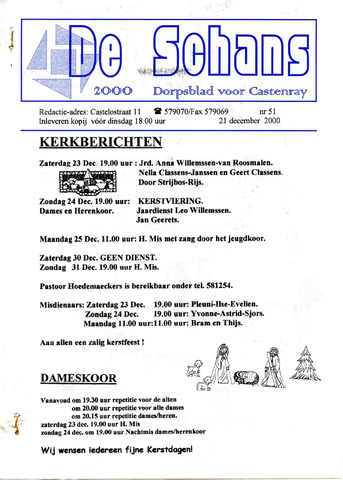 Castenrays dorpsblad De Schans 2000-12-21