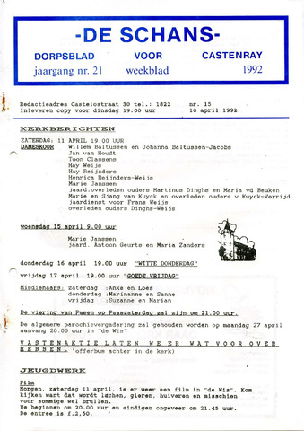 Castenrays dorpsblad De Schans 1992-04-10