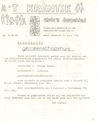 Oirlo's dorpsblad 't Krèntje 1978-06-15