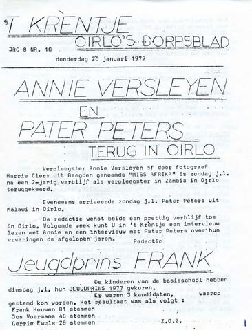 Oirlo's dorpsblad 't Krèntje 1977-01-20
