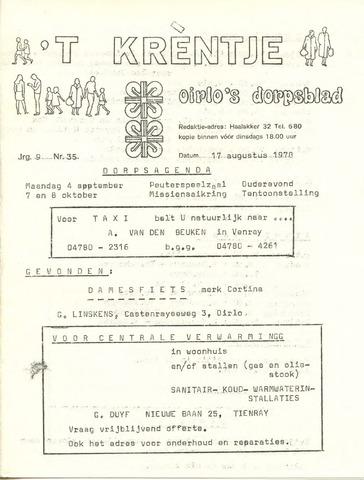 Oirlo's dorpsblad 't Krèntje 1978-08-17