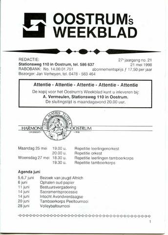 Oostrum's Weekblad 1998-05-21
