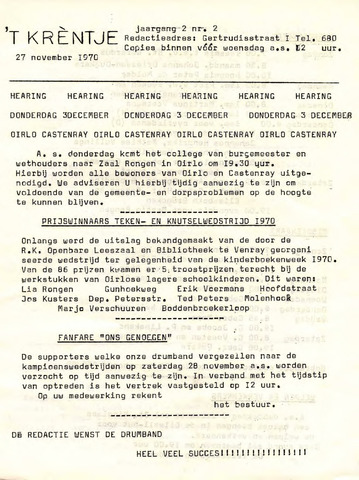 Oirlo's dorpsblad 't Krèntje 1970-11-27