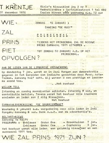 Oirlo's dorpsblad 't Krèntje 1970-12-31