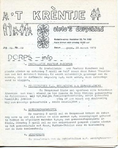 Oirlo's dorpsblad 't Krèntje 1979-03-29