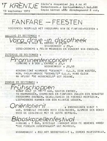 Oirlo's dorpsblad 't Krèntje 1973-09-13