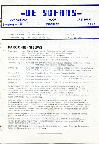 Castenrays dorpsblad De Schans 1984-04-27