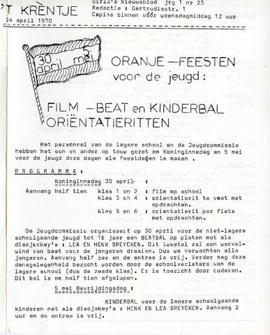 Oirlo's dorpsblad 't Krèntje 1970-04-24