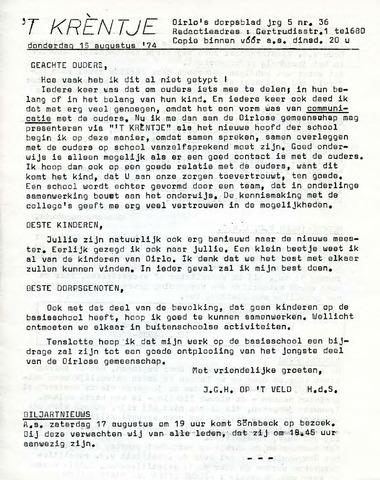 Oirlo's dorpsblad 't Krèntje 1974-08-15