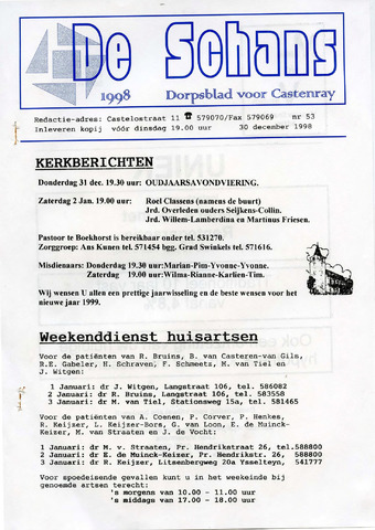 Castenrays dorpsblad De Schans 1998-12-30