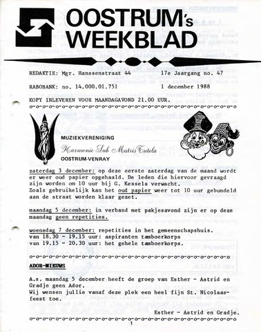 Oostrum's Weekblad 1988-12-01
