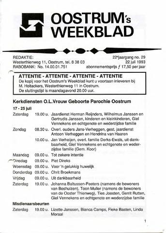 Oostrum's Weekblad 1993-07-22