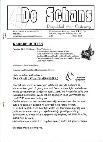 Castenrays dorpsblad De Schans 2005-05-18