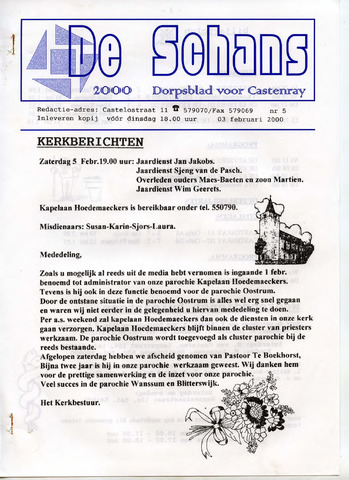 Castenrays dorpsblad De Schans 2000-02-03
