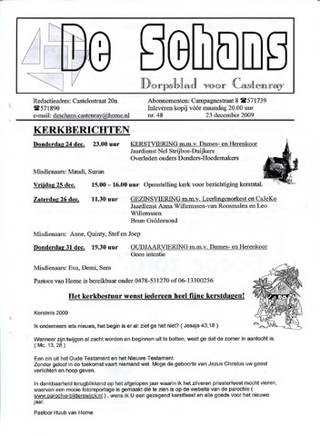 Castenrays dorpsblad De Schans 2009-12-23