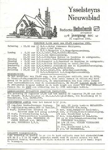 Ysselsteyns Nieuwsblad 1981-08-21