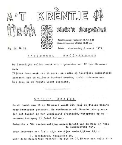 Oirlo's dorpsblad 't Krèntje 1979-03-08
