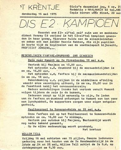 Oirlo's dorpsblad 't Krèntje 1975-05-15