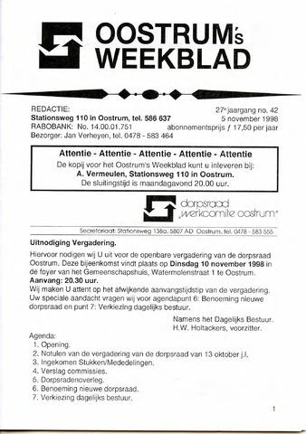 Oostrum's Weekblad 1998-11-05