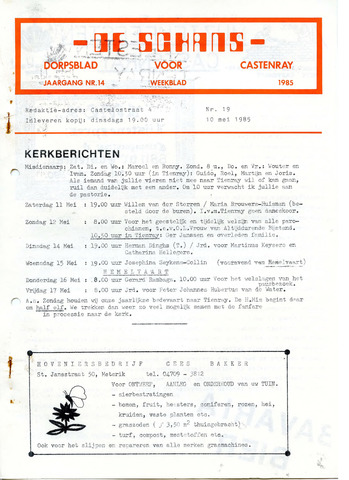 Castenrays dorpsblad De Schans 1985-05-10