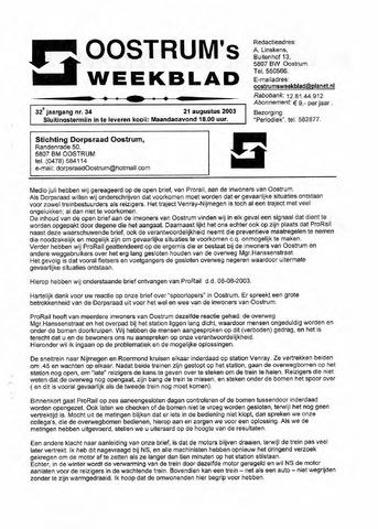 Oostrum's Weekblad 2003-08-21