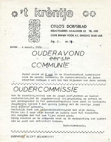 Oirlo's dorpsblad 't Krèntje 1976-03-04