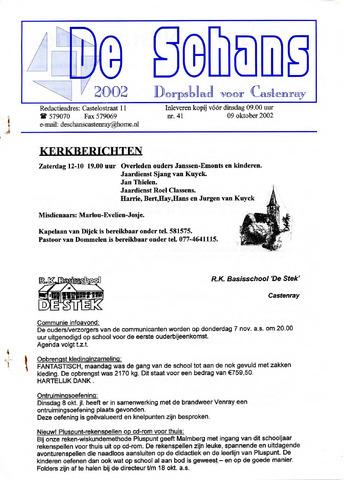 Castenrays dorpsblad De Schans 2002-10-09