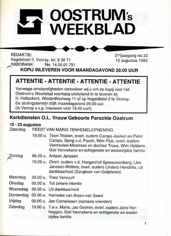 Oostrum's Weekblad 1992-08-13