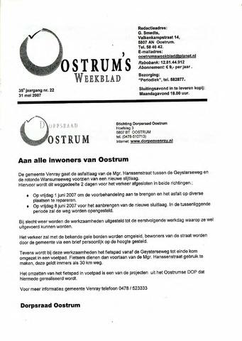 Oostrum's Weekblad 2007-05-31