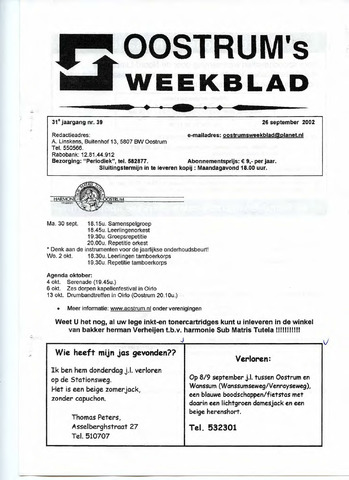 Oostrum's Weekblad 2002-09-26