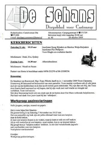 Castenrays dorpsblad De Schans 2009-10-28