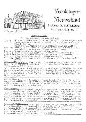 Ysselsteyns Nieuwsblad 1973-11-02