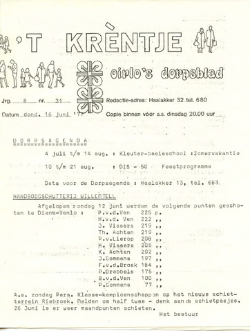 Oirlo's dorpsblad 't Krèntje 1977-06-16