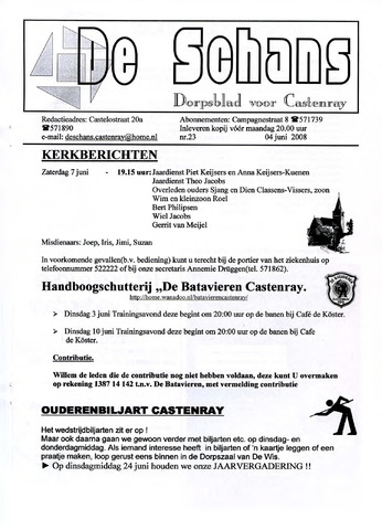 Castenrays dorpsblad De Schans 2008-06-04