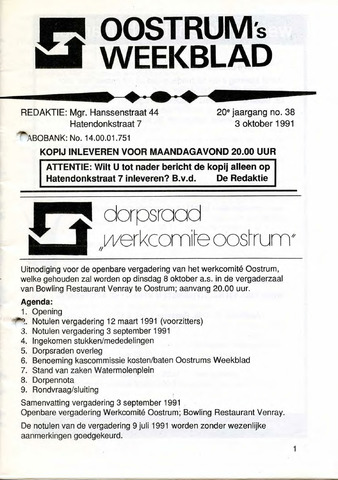 Oostrum's Weekblad 1991-10-03