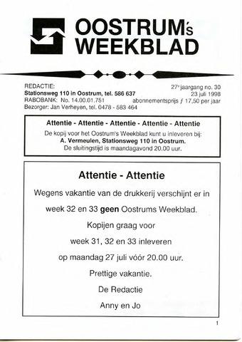 Oostrum's Weekblad 1998-07-23