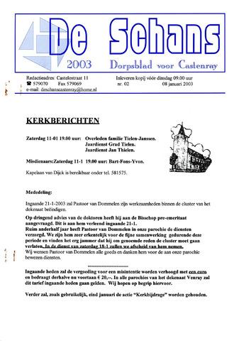 Castenrays dorpsblad De Schans 2003-01-08