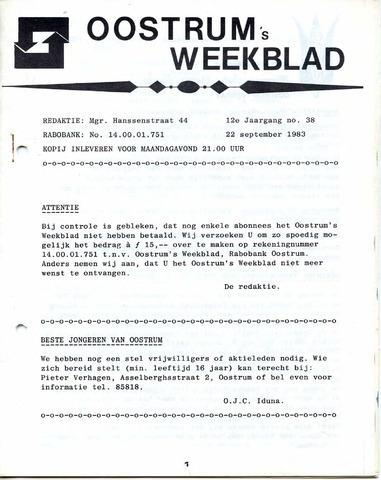 Oostrum's Weekblad 1983-09-22