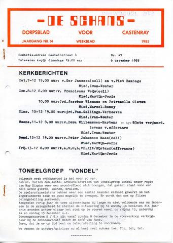 Castenrays dorpsblad De Schans 1985-12-06