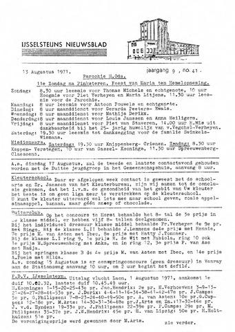 Ysselsteyns Nieuwsblad 1971-08-13
