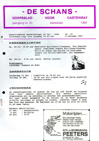 Castenrays dorpsblad De Schans 1991-10-04