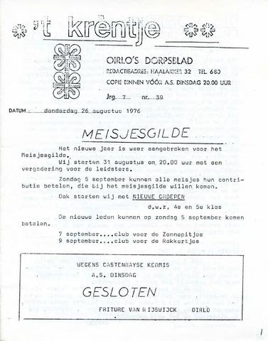 Oirlo's dorpsblad 't Krèntje 1976-08-26