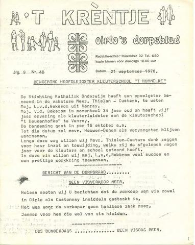 Oirlo's dorpsblad 't Krèntje 1978-09-21