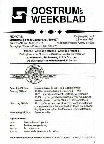 Oostrum's Weekblad 2001-02-22