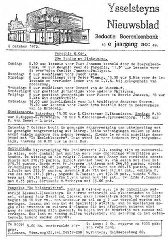 Ysselsteyns Nieuwsblad 1972-10-06