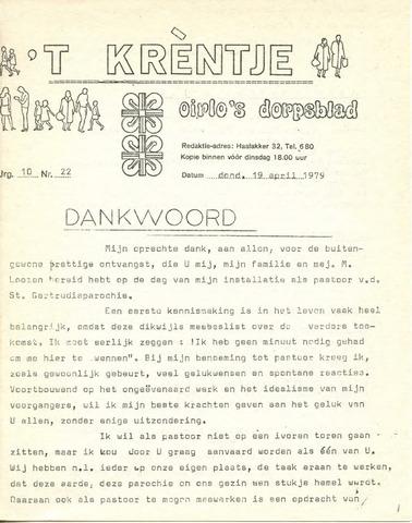 Oirlo's dorpsblad 't Krèntje 1979-04-19