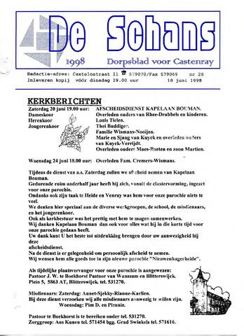 Castenrays dorpsblad De Schans 1998-06-18