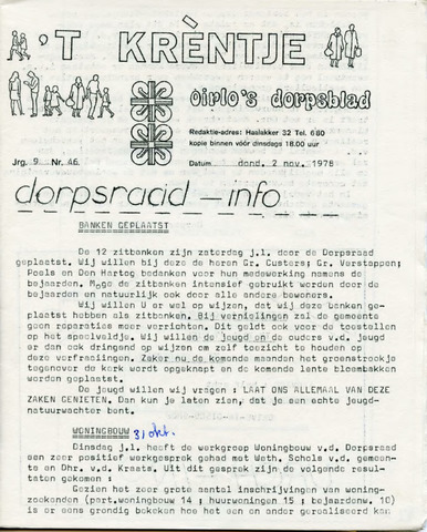 Oirlo's dorpsblad 't Krèntje 1978-11-02