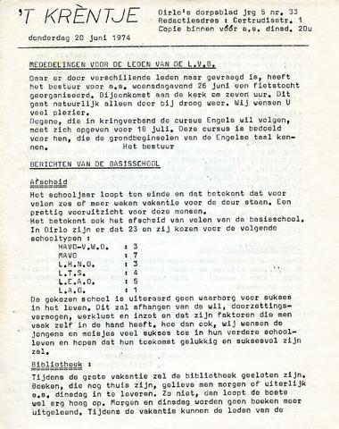 Oirlo's dorpsblad 't Krèntje 1974-06-20