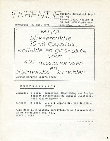 Oirlo's dorpsblad 't Krèntje 1975-08-27